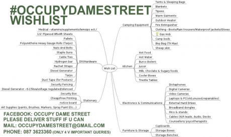 #OccupyDameStreet Wishlist