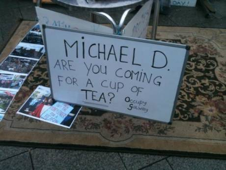 Will you come up for a cup of tea, Michael D?