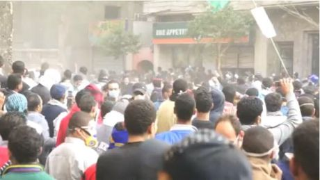 Screen shot from video of crowds in Cairo.