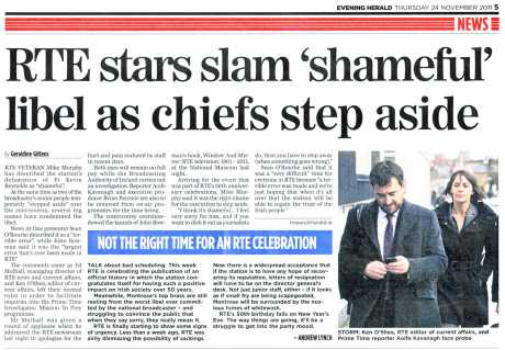 Evening Herald jumps on anti RTE bandwagon - how did Herald cover SINDO Lawlor story?