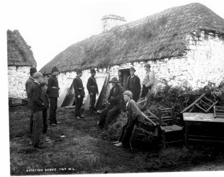 Irish family evicted at Moyasta, County Clare during Land War, c.1879. Source: Lawrence Collection, National Library of Ireland.