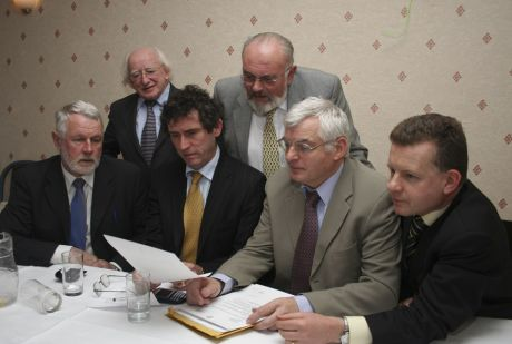 Michael D Higgins with other TDs and Senator David Norris at a Shell to Sea press conference in Dublin in November 2006 (Pic: William Hederman)