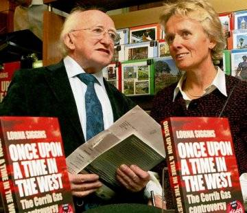 Michael D Higgins with journalist Lorna Siggins at the launch of her book about the Corrib saga
