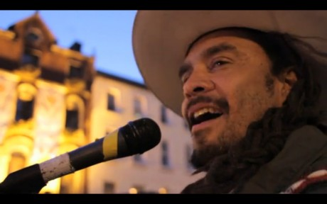 Michael Franti@ #occupydamestreet : 15 minutes of pure sunshine to Dame Street after the wettest day on camp so far.