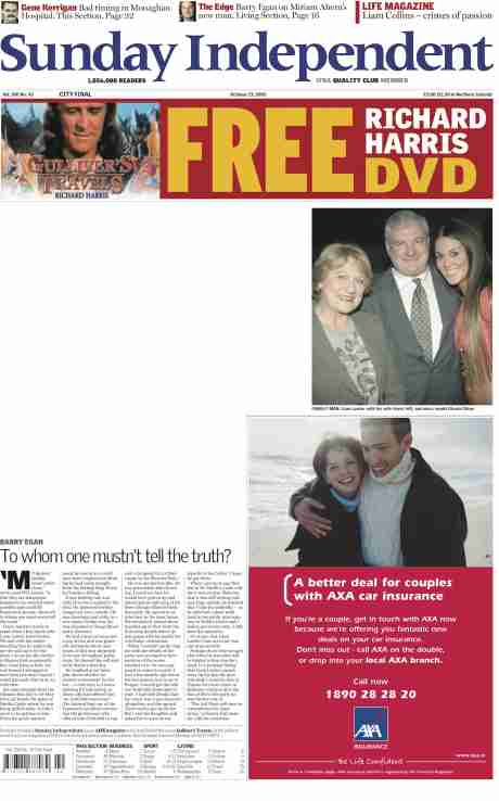 CLICK TO READ - Sunday Independent Oct 23, 2005 - white space is where article was - see 'family man' photo caption that includes Lawlor's wife and obligatory sexist  addition, Glenda Gilsen