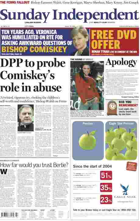 CLICK TO READ - Sunday Independent Oct 30, 2005 - contrast size and design of self-serving 'apology' with previous week's story - no heads rolled