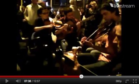 Trad session at #occupydamestreet goes out to world via LIVESTREAM
