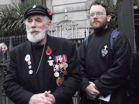 WW2 veteran Jim Radford and Fr. Martin Newell of the London Catholic Worker