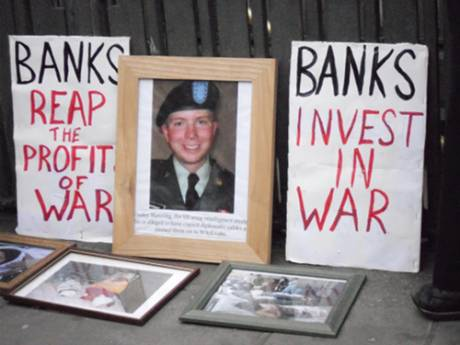 "Shrine - Bradley Manning ""Banks Reap the Profits of War"", ""Banks Invest in War"""
