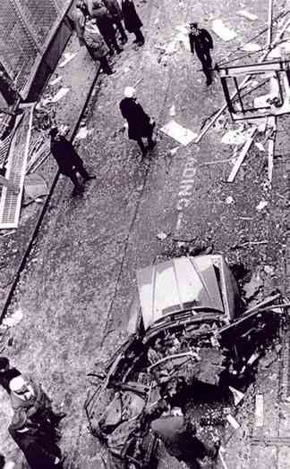 Picture from a height of the 20th Jan 1973 bombing on Sackville place, copyright the respective owner