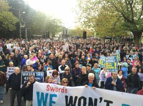 Swords water charges protest