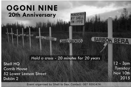 Crosses remembering the Ogoni Nine in Mayo