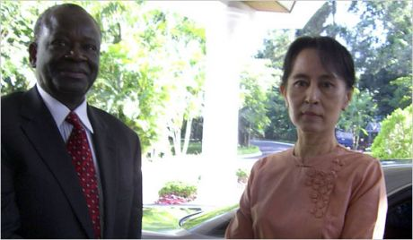 this is a United Nations photo of Ibrahim Gambari & Aung San Suu Kyi in the same image.