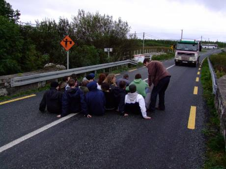 Sit-down blockade on the road.