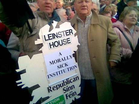 Two of the RSF protesters at the 'Medical Card' protest in Dublin .