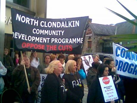 Clondalkin CDP workers outside Curran's Clondalkin office.