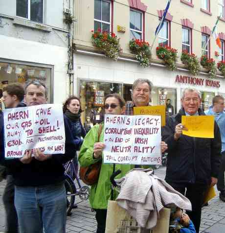 Read it and Weep! Some Protestors in Galway.