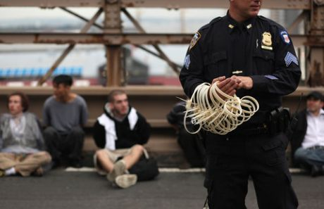 700+ arrested this morning on Brooklyn Bridge