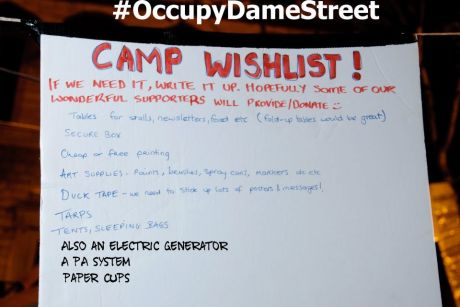 #OccupyDameStreet - Day 7 - wishlist