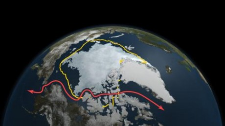 NASA satellite data reveals how this year's minimum sea ice extent, reached on Sept. 9 as depicted here, declined to a level far smaller than the 30-year average (in yellow) and opened up Northwest Passage shipping lanes (in red). Credit: NASA Goddard's S