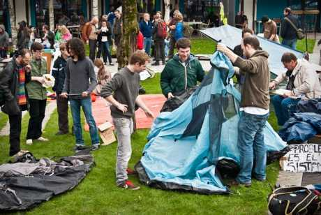 #OccupyCork: tent city put up at the war memorial at the bottom of South Mall