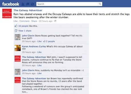 #OccupyGalway: no support or sympathy from the Galway Advertiser