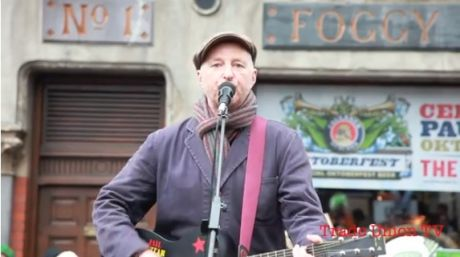 Billy Bragg free secret solidarity gig at Occupy Dame Street, Saturday 22nd October 2011