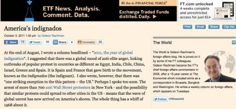 Whole thing has a whiff of 1968 about it... FINANCIAL TIMES on America�s indignados
