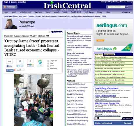 Irish Central: 88% of Irish Americans New Yorkers, IrishCentral readers, said they supported #OccupyDameStreet