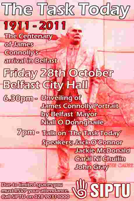 Centenary of James Connolly�s Belfast Arrival to be marked in City Hall tonight