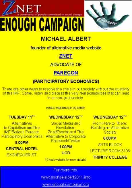 Michael Albert speaking engagements in Dublin for Oct 11th, 12th & 13th