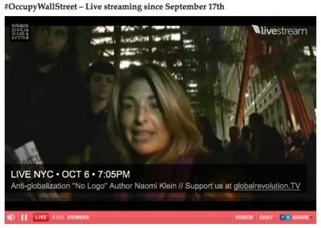 """Serious political thought"" @ #OccupyWallStreet: Noami Klein"