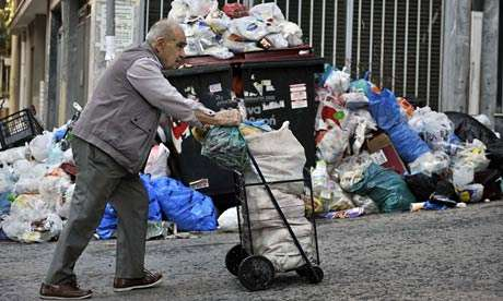 Greek 48 HOUR strike: Rubbish collection in Athens has been stopped for a second week and ministers have been locked out of their own offices by civil servants