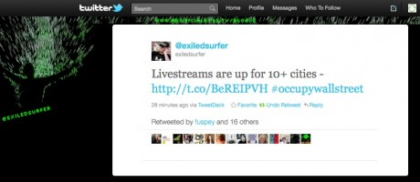 TWEET: Livestreams are up for 10+ cities - http://t.co/BeREIPVH #occupywallstreet