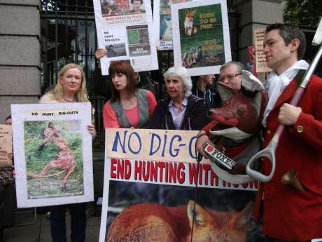 Anti hare coursing/fox hunting demo, with Deputies Clare and Maureen O' Sullivan present