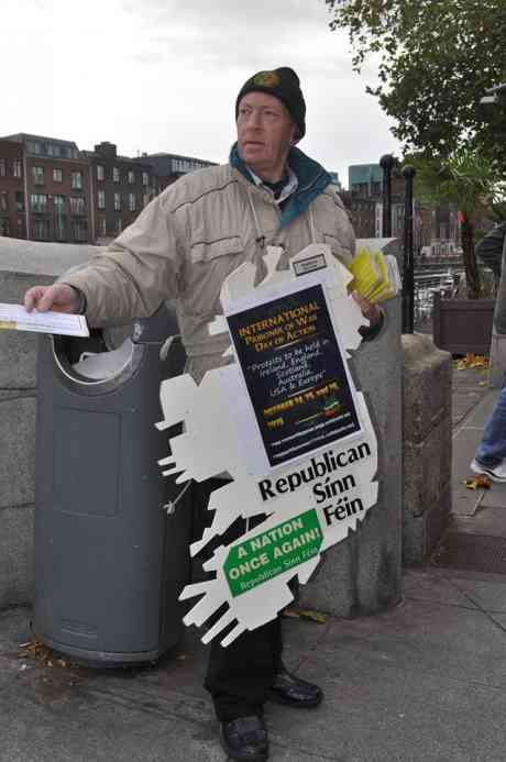 One of the RSF activists who took part in the 'International Day of Protest' at the Half'penny Bridge in Dublin on Sunday 25th October 2015.