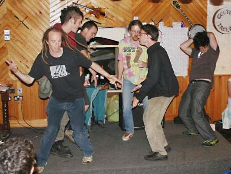 This one always gets a laugh: dance off during a table quiz in 2005
