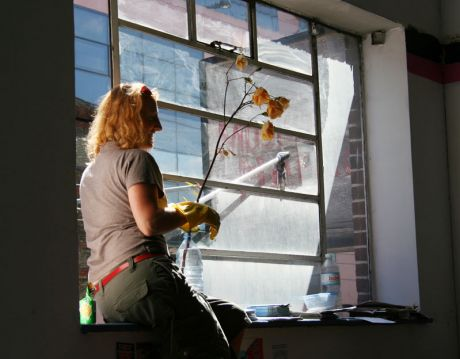 Window cleaning at the new space