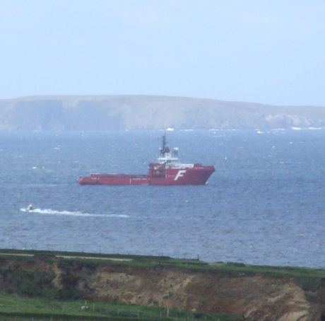 Another one of Shell's vessels in the bay - the Far Fosna, chartered by Shell UK from Farstad ASA
