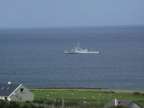 Shell War-Boat Orla on her way out of Broadhaven on Sunday afternoon