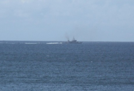 Shell War-Boat Orla on way out of Broadhaven Bay Sun. afternoon