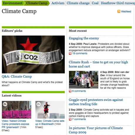 Guardian carries huge amount of uk climate camp stuff - people preparing now for COP15