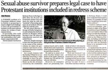 Derek Leinster prepares legal case - Sunday Tribune 6 September 2009