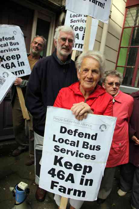 Members of save 46A bus campaign meeting at Anglo Irish Bank