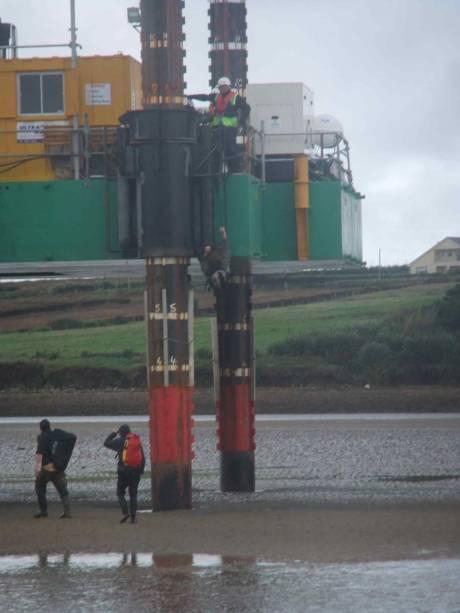 Climbing up the rig initally