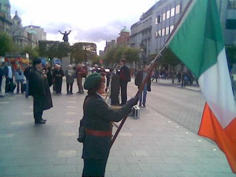 A Cumann na mBan rep at the 'Eve Rally' in Dublin on Saturday 17th September 2011.