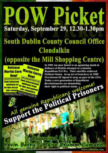 Clondalkin POW picket , Saturday 29th September 2012.