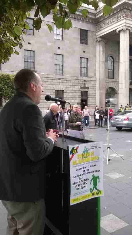 Des Dalton, RSF President, speaking at the 'Eve Rally' in Dublin, on Saturday 19th September 2015.