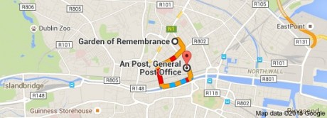 It's about a 15-minute walk from the GOR to the GPO (even allowing for 'Irish Time'!)